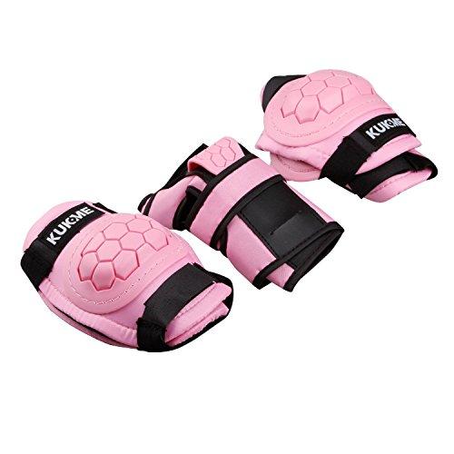 TXJ protections ensemble / 3 paires - Genouillères, coudières, plaquettes de poignet de skateboard, roller, patin à glace pour enfant (Rose, S)
