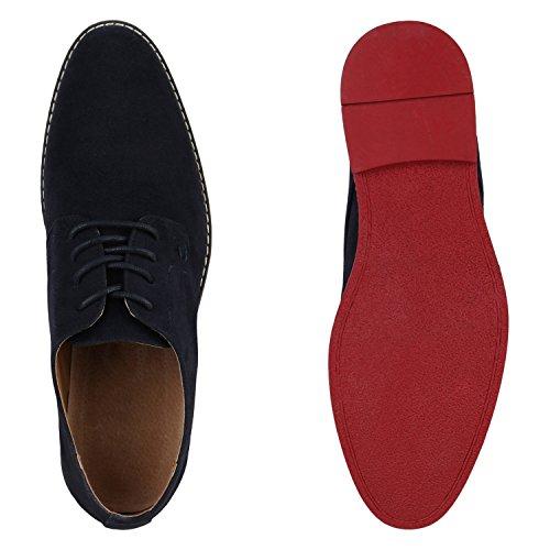Herren Halbschuhe | Business Schuhe Veloursleder-Optik |Klassische Schnürer | Denim Lochung Geflochten Dunkelblau Rot