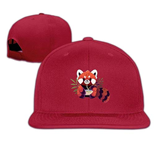 uykjuykj Red Panda Eating Ramen Washed Unisex Flat Bill Visor Baseball Hat Comfortable Trucker Cap Sport for Men Women (Boy Baby Beanie Jordan)