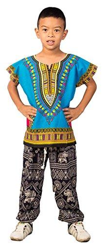 Lofbaz - Kinder Unisex Dashiki - Traditionelles Oberteil mit afrikanischem Druck - Hellblau - S