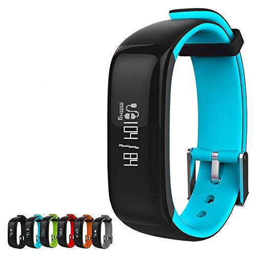 Fitness Armbanduhr, Kinbom Herzfrequenzmesser Smart Uhr mit SchlafMonitor, Schrittzähler, GPS, Nachricht Erinnerung, Kalorienzähler, Bluetooth 4.0, Wasserdicht IP67 Aktivitätstracker Fitness Tracker für Android & iOS Smartphones (Schwarz)