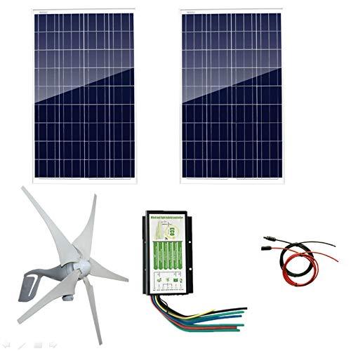 AUECOOR 24 V 600 Watt Wind-Solar-Leistung: 2 Stück 100 Watt Polykristalline Solarpanele + 1 Stück 12 V / 24 V 400 Watt Windturbinen-Generator + 5 m Kabel mit MC4-Anschluss (Leistung Solar-generator)