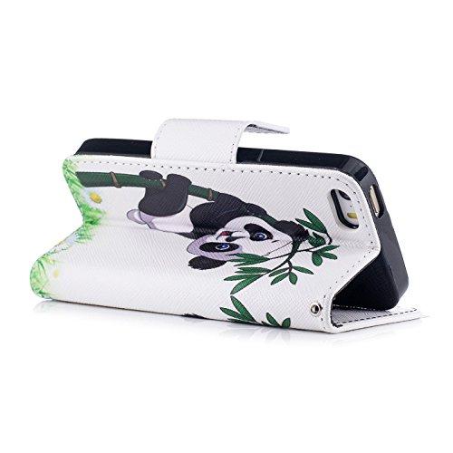 TOYYM iPhone SE Hülle,iPhone 5/5s Lederhülle,Ultra Dünn Flip PU Leder Cover Wallet Brieftasche Case [Card Holder][Standfunktion][Magnetverschluss],Kreativ Embossed Muster Bookstyle Folio Handyhülle Ta Panda Bambus