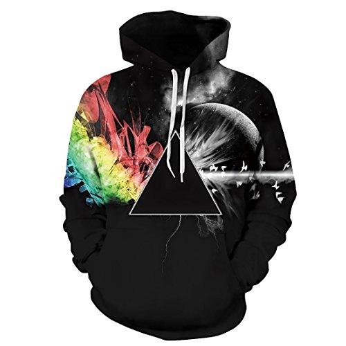 Herren Damen Unisex Space Fantasy Textildruck Herbst Winter Sweatshirts mit Kapuze Pullover Stern Universum Strickjacke (Schwarz, L/XL) (Bekleidung Strickjacken Herren Pullover)