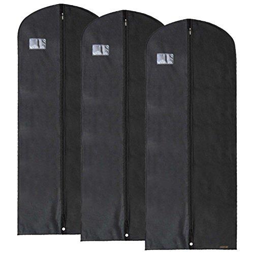3 Atmungsaktive Kleidersäcke aus Vliesstoff - schwarz - 152 cm - Hangerworld