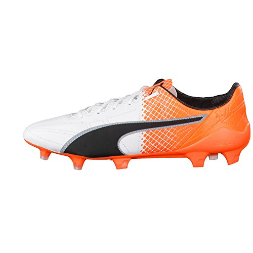Puma Evospeed Sl Ii Lth Tricks Fg, Chaussures de football homme Puma White-Puma Black-Shocking Orange