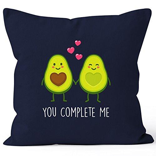 MoonWorks Kissen-Bezug Avocado - You Complete me Kissen-Hülle Deko-Kissen Baumwolle Valentinstagsgeschenk Navy 40cm x 40cm -