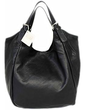 Leatherworld Beutel Ledertasche XXL / Shopper NERO 01219