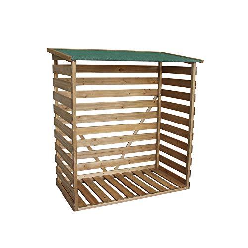 MCombo Kaminholzregal mit Rückwand Brennholzregal Kaminholzunterstand Holz braun