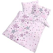 """'Franela bebé Ropa de cama """"Estrellas Estrellas y Estrellas Color Rosa Morado Gris–2piezas Tamaño 40x 60+ 100x 135cm–100% algodón–Fabricado en Alemania"""