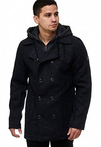 Indicode Herren Cliff Jacke Lange Jacke aus Hochwertiger Wollmischung mit Stehkragen Black M - 2
