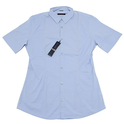 8199 camicia short sleeve DANIELE ALESSANDRINI camicie uomo shirt men Azzurro