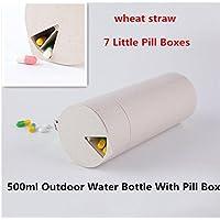 Weizen Stroh Drink Cup Flasche Mit Sieben Tage Portable Pill Box Cup 2 In 1 Outdoor Wasserflasche Pill Box Cup