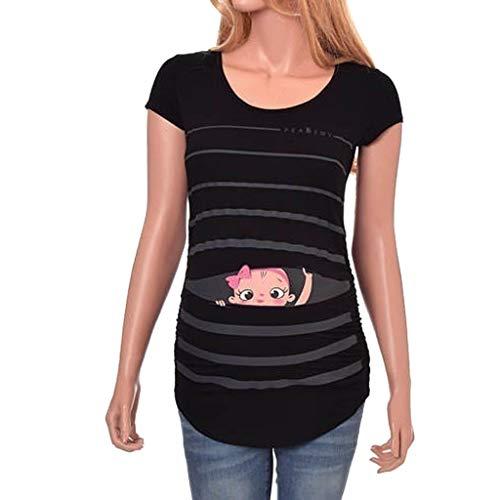 Topgrowth Maglietta Premaman Divertenti T Shirt A Maniche Corte Stampa del Bambino Camicia A Righe Donna Top Gravidanza