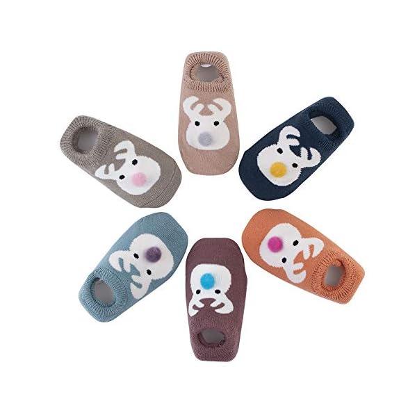 Estwell 6 Pares Calcetines Bebé Antideslizante Infantil Niños Niñas Invierno Grueso Calcetines Animados 1