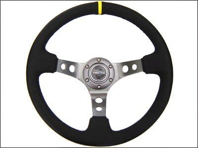 NRG Steering Wheel - 06 (Deep Dish) - 350mm (13.78 inches) - Black Suede with Black Spokes / Yellow Stripe - Part # ST-006S-Y by NRG Innovations Deep Dish Wheel