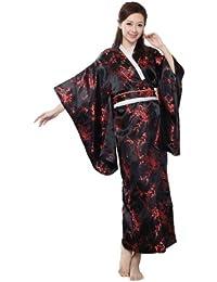 Yue Lian Damen Japanisch Pfau & Blumen Kimono Yukata Lang Robe Kostüm mit Obi-Gürtel