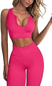 FAFOFA Workout Sets for Women 2 Piece Seamless Ribbed Crop Tank High Waist Shorts Yoga Outfits