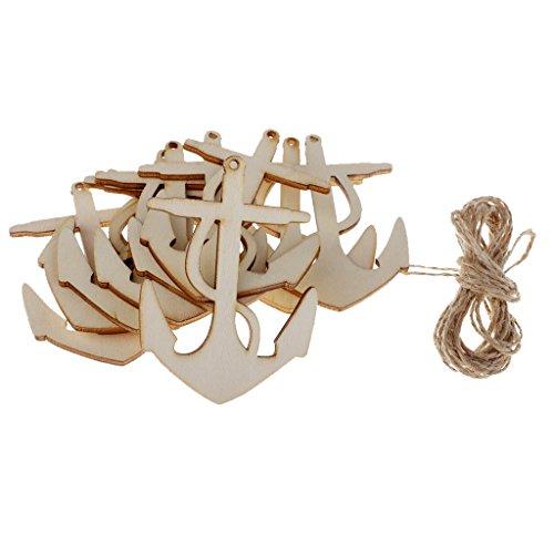 Homyl 10er Set Mini Anker Schiffsanker aus Holz zum Aufhängen Streuteile Streudeko Holz Anhänger für Halskette Kette Schmuck DIY