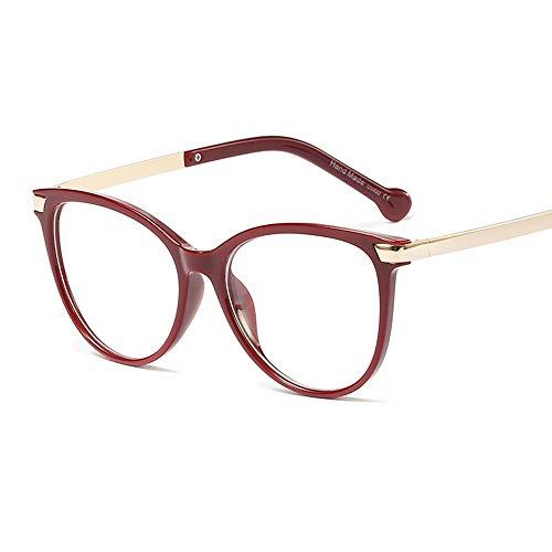 WULE-RYP Polarisierte Sonnenbrille mit UV-Schutz Retro einfache runde Brillengestell, Drop Temple, Flat Mirror Women Superleichtes Rahmen-Fischen, das Golf fährt (Farbe : Weinrot)