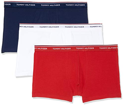 Tommy Hilfiger 3p Trunk, Bóxers para Hombre, Blanco (White/Tango Red/Peacoat 611), Medium, (Pack de 3)