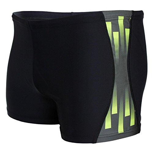 Aquarti Bañador con Rayas en los Laterales para Hombre, Color: Negro/Verde, Größe: 7XL Cintura c...