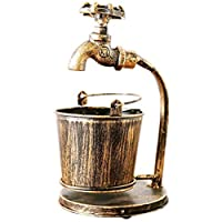 YNuo Ashtray Creative decorations Wrought iron vintage ashtray Personality trend decoration Household accessories Faucet and bucket shape Unique shape. large. Bronze. (Color : Black)