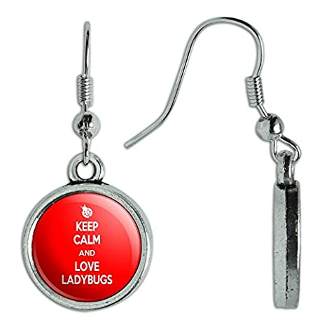Novelty Dangling Drop Charm Earrings Keep Calm and H-O - Love Ladybugs - Keep Calm and