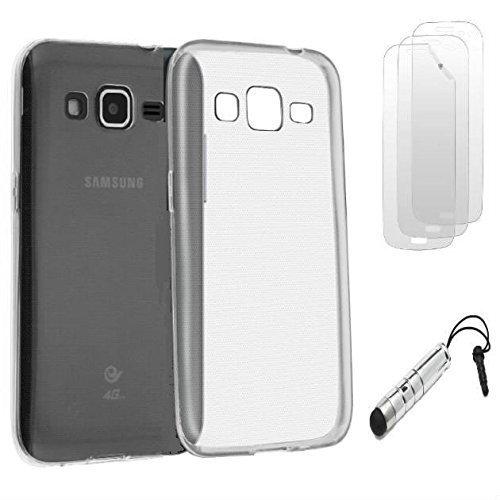 D&C® Coque Silicone Gel Blanc Transparent Samsung Galaxy Trend 2 Lite SM-G318H + 3 FILMS ET STYLET OFFERTS