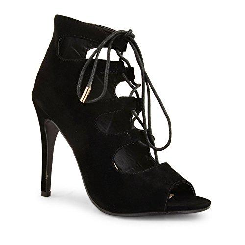 Damen Schnürstiefel High Heels Stiletto Evening Party Peep Toe Schuh Stiefel Größe schwarze Velourslederoptik