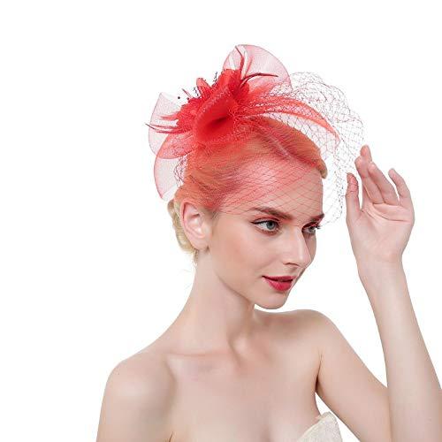 ume Bowknot Mesh s Tea Party Vintage Bankett Party Haarspangen & Haarspangen Schleier Braut Kopfbedeckungen Rot Damen Schleier Mesh Kopfbedeckungen Hut Bowler Hats ()