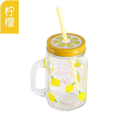 XXAICW Transparente Obst Saft trinken Glastasse mit einem Strohhalm zu trinken eine Flasche Milch Zitrone Tasse mit Deckel , Zitrone (Glas Milch Flaschen Zu Trinken)
