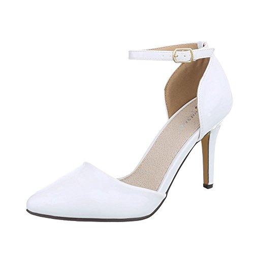 Ital-Design High Heel Pumps Damen-Schuhe High Heel Pumps Pfennig-/Stilettoabsatz High Heels Schnalle Pumps Weiß, Gr 36, Sy01P-5-