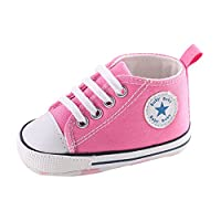 Sweet Canvas Baby Sneaker Antiskid Soft Cute Trainer Shoes 0-18M (L: 12~18 months, Pink)