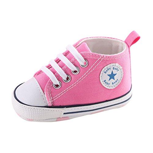 Nette Baby-Segeltuch-Turnschuh-Rutschfeste Weiche Trainer-Schuhe 0-18M Rosa