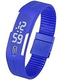 Malloom®hombres mujeres caucho LED digital fecha deportes reloj de pulsera (azul)