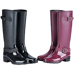 TQGOLD® Botas de Agua Mujer Niña Botas de Lluvia Altas Impermeable Goma Wellington Boots Negro Talla 39