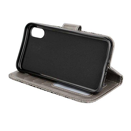 Custodia iPhone X, ESSTORE-EU Premium Portafoglio Protettiva Cover Custodia, Retrò Mandala Flip Wallet Case Custodia in Pelle per Apple iPhone X (2017) - Con Slot per Schede e Stand, Rosa Grigio