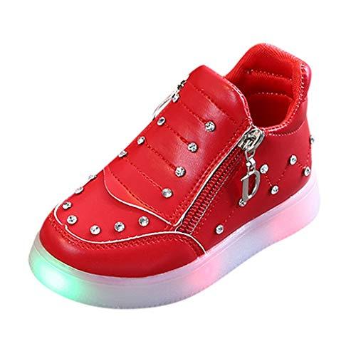 HDUFGJ LED Schuhe Kinder Strass Beleuchtete Freizeitschuhe Mädchen Kinder Schuhe Nette Baby Mädchen Stiefel Plus Samt Leichtgewicht Laufschuhe Faule Schuhe Turnschuhe Fitnessschuhe 26.5 EU(rot)