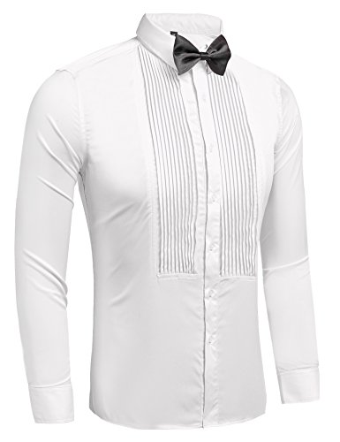 Hasuit Men's Tuxedo Dress Shirts with French Cuffs and Bow Tie
