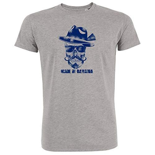 Trachten T-Shirt Herren Made IN Bavaria Bayrischer Totenkopf Bio-Baumwolle Oktoberfest-Shirt Wiesn Österreich HeatherGrey-Blau XL