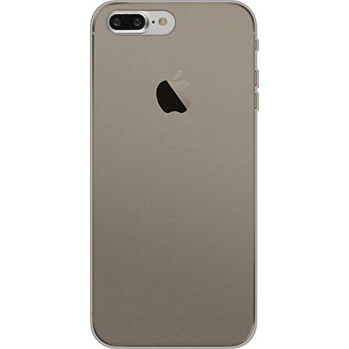 PhoneNatic Case für Apple iPhone 8 Plus Hülle Silikon clear Slimcase Cover iPhone 8 Plus Tasche + 2 Schutzfolien Grau