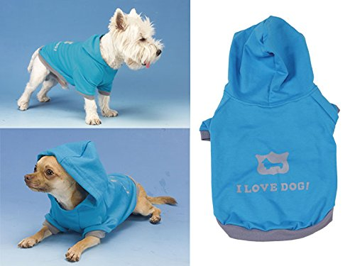 BIOPET Shirt Hund blau Hoodie I love Dog verschiedenen Grössen 45 CM