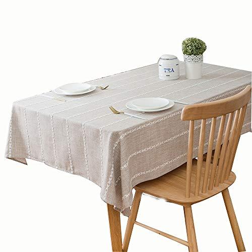 Jasmin FS Tischdecke Home Couchtisch Baumwolle und Leinen, klein, frisch, quadratisch, einfach gestreift, Kaffeebraun, 135 * 160 - Jasmin-baumwoll-leinen