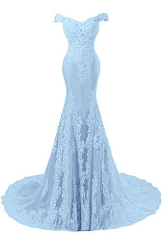 Sunvary Romantisch Mermaid Neu Spitze Traeger Abendkleid Ballkleider Blau-1