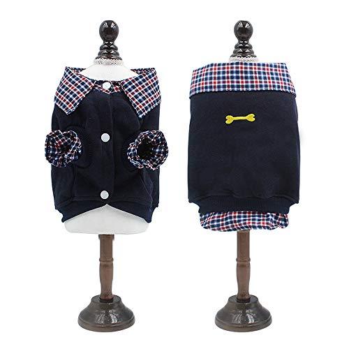 Yhjmdp Haustier Kleider Kostüm,Weste,Sweatshirt,Hemdkragen,Weich Warm,zum Vier Jahreszeiten für Klein Mittel Hunde Kleidung Mantel Jacke,Navyblue,XL