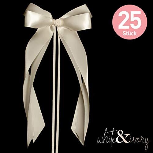 white & ivory 25 Autoschleifen Hochzeit Antennenschleifen | Champagner/Creme | doppelt handgebunden mit Rose | hochwertiges Satin | Autoschmuck | Deko Schleife