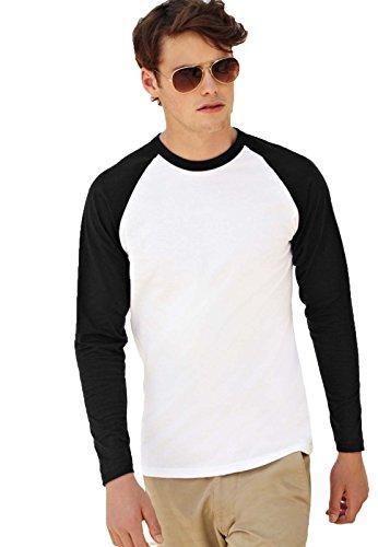 Maglietta Maniche Lunghe Bicolore Uomo Cotone 165 Gr Fruit Of The Loom Baseball, Colore: Bianco/Nero, Taglia: L
