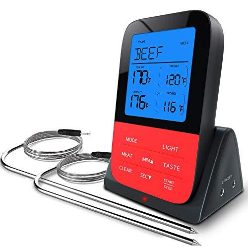 Grillthermometer Bratenthermometer Fleischthermometer mit Zeitmesser, 2 Temperaturfühlern Sonden, Sofortiges Auslesen, Hintergrundbeleuchtung LED Display, Magnetrückwand, Digital Grillthermometer