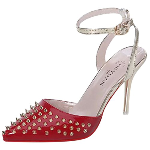 Azbro Women's Pointed Toe Rivet Slingback Ankle Strap High Heels Sandals Red